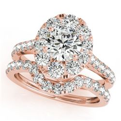 2.52 CTW Certified VS/SI Diamond 2Pc Wedding Set Solitaire Halo 14K Rose Gold - REF-476K4W - 31173