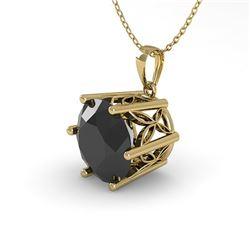 1 CTW Black Diamond Solitaire Necklace 18K Yellow Gold - REF-42K2W - 35875
