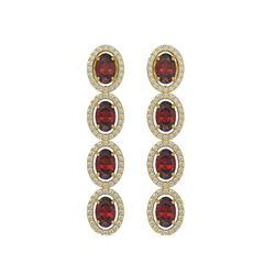 6.2 CTW Garnet & Diamond Earrings Yellow Gold 10K Yellow Gold - REF-102R5K - 40549