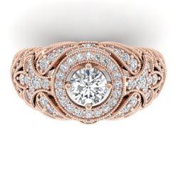 2.35 CTW Certified VS/SI Diamond Art Deco Halo Ring 14K Rose Gold - REF-293H3M - 30409