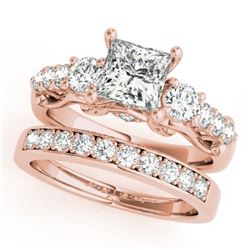1.85 CTW Certified VS/SI Diamond 3 Stone Princess Cut 2Pc Set 14K Rose Gold - REF-305W5H - 32025