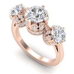 3.06 CTW VS/SI Diamond Solitaire Art Deco 3 Stone Ring 18K Rose Gold - REF-576F4N - 36849
