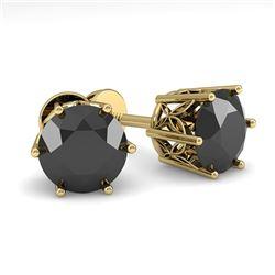 2.0 CTW Black Certified Diamond Stud Solitaire Earrings 18K Yellow Gold - REF-64K7W - 35851