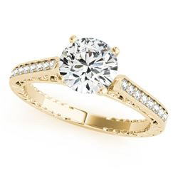 0.65 CTW Certified VS/SI Diamond Solitaire Antique Ring 18K Yellow Gold - REF-113R6K - 27371
