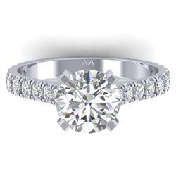 2.4 CTW Certified VS/SI Diamond Solitaire Art Deco Ring 14K White Gold - REF-674M2F - 30441
