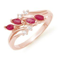 0.40 CTW Ruby & Diamond Ring 18K Rose Gold - REF-38M4F - 13149