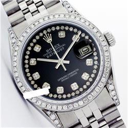 Rolex Men's Stainless Steel, QuickSet, Diamond Dial & Diamond Bezel - REF-587Y5X