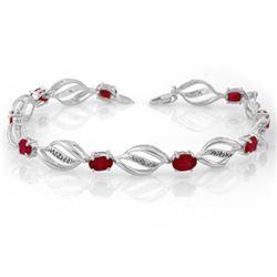 5.10 CTW Ruby & Diamond Bracelet 14K White Gold - REF-89V3Y - 10662