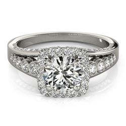 1.75 CTW Certified VS/SI Diamond Solitaire Halo Ring 18K White Gold - REF-424X2R - 26943