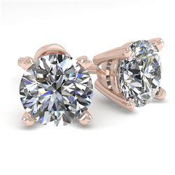 1.53 CTW VS/SI Diamond Stud Designer Earrings 14K Rose Gold - REF-247F6N - 30591