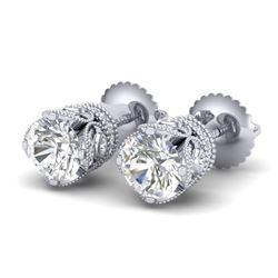 1.85 CTW VS/SI Diamond Solitaire Art Deco Stud Earrings 18K White Gold - REF-261A8V - 36857