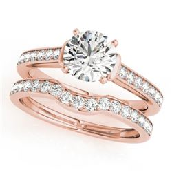 1.83 CTW Certified VS/SI Diamond Solitaire 2Pc Wedding Set 14K Rose Gold - REF-400N9A - 31641