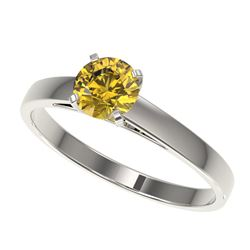 0.77 CTW Certified Intense Yellow SI Diamond Solitaire Engagement Ring 10K White Gold - REF-92R5K -