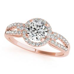 1.25 CTW Certified VS/SI Diamond Solitaire Halo Ring 18K Rose Gold - REF-303V2Y - 26809