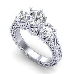 2.01 CTW VS/SI Diamond Solitaire Art Deco 3 Stone Ring 18K White Gold - REF-527R3K - 36929
