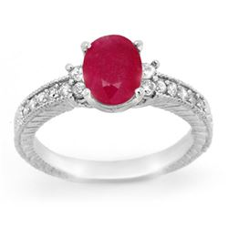 2.31 CTW Ruby & Diamond Ring 14K White Gold - REF-52A5V - 13844