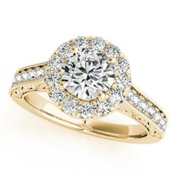 1.40 CTW Certified VS/SI Diamond Solitaire Halo Ring 18K Yellow Gold - REF-232X5R - 26511