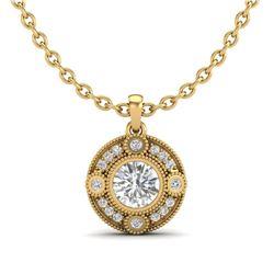 1.01 CTW VS/SI Diamond Solitaire Art Deco Necklace 18K Yellow Gold - REF-221R8K - 36985