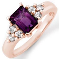1.36 CTW Amethyst & Diamond Ring 14K Rose Gold - REF-51N3A - 10433