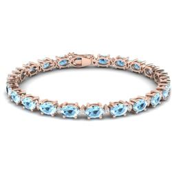 15.9 CTW Aquamarine & VS/SI Certified Diamond Eternity Bracelet 10K Rose Gold - REF-165H3M - 29361
