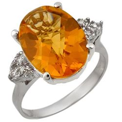 5.10 CTW Citrine & Diamond Ring 18K White Gold - REF-58V2Y - 11393