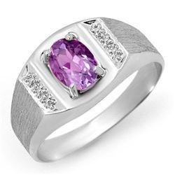 2.0 CTW Amethyst Ring 18K White Gold - REF-51X8R - 12427
