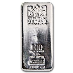One piece 100 oz 0.999 Fine Silver Bar Republic Metals Corporation-84703