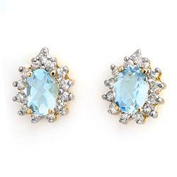 3.75 CTW Aquamarine & Diamond Earrings 14K Yellow Gold - REF-77A8V - 10224