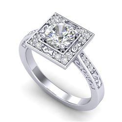 1.10 CTW VS/SI Diamond Art Deco Ring 18K White Gold - REF-180R2K - 37265