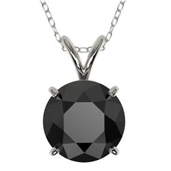 2 CTW Fancy Black VS Diamond Solitaire Necklace 10K White Gold - REF-43R2K - 33233