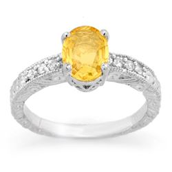 2.28 CTW Yellow Sapphire & Diamond Ring 14K White Gold - REF-61X8R - 13821