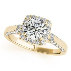 1.08 CTW Certified VS/SI Diamond Solitaire Halo Ring 18K Yellow Gold - REF-140K2W - 26247