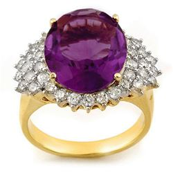 8.18 CTW Amethyst & Diamond Ring 14K Yellow Gold - REF-127Y3X - 11159