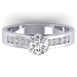 1.10 CTW Certified VS/SI Diamond Solitaire Art Deco Ring 14K White Gold - REF-188W2H - 30345