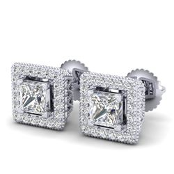 2.25 CTW Princess VS/SI Diamond Micro Pave Stud Earrings 18K White Gold - REF-272A7V - 37169