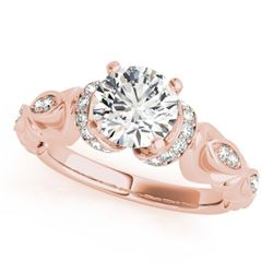 0.95 CTW Certified VS/SI Diamond Solitaire Antique Ring 18K Rose Gold - REF-200R5K - 27307