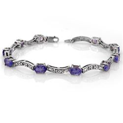 4.25 CTW Tanzanite & Diamond Bracelet 14K White Gold - REF-84R9K - 10373