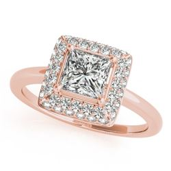 0.80 CTW Certified VS/SI Princess Diamond Solitaire Halo Ring 18K Rose Gold - REF-113F3N - 27160