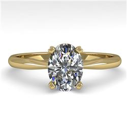1.01 CTW Oval Cut VS/SI Diamond Engagement Designer Ring 14K Yellow Gold - REF-275F3N - 32161