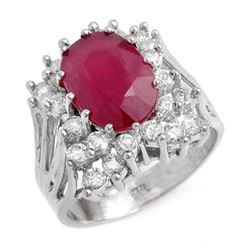 4.62 CTW Ruby & Diamond Ring 18K White Gold - REF-152V9Y - 13936