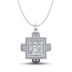 1.46 CTW Princess VS/SI Diamond Solitaire Micro Pave Necklace 18K White Gold - REF-418H2M - 37193