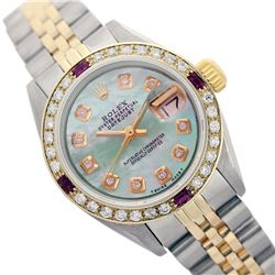 Rolex Men's Two Tone 14K Gold/SS, QuickSet, Diam Dial & Diam/Ruby Bezel - REF-569K5T