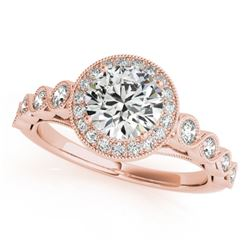 1.05 CTW Certified VS/SI Diamond Solitaire Halo Ring 18K Rose Gold - REF-138W7H - 26399