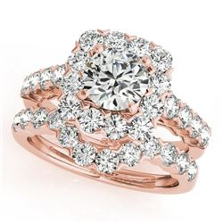 2.12 CTW Certified VS/SI Diamond 2Pc Wedding Set Solitaire Halo 14K Rose Gold - REF-187X3R - 30667