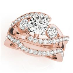 2.54 CTW Certified VS/SI Diamond Bypass Solitaire 2Pc Wedding Set 14K Rose Gold - REF-609K6W - 31782