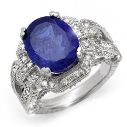 8.50 CTW Tanzanite & Diamond Ring 18K White Gold - REF-366N4A - 10997
