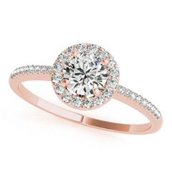 1 CTW Certified VS/SI Diamond Solitaire Halo Ring 18K Rose Gold - REF-185W3H - 26351