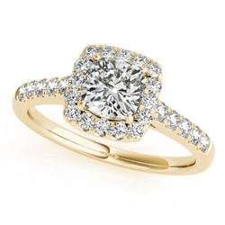 1.45 CTW Certified VS/SI Cushion Diamond Solitaire Halo Ring 18K Yellow Gold - REF-452X7R - 27128