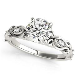 0.60 CTW Certified VS/SI Diamond Solitaire Antique Ring 18K White Gold - REF-126Y7X - 27267