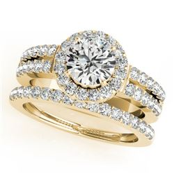 1.58 CTW Certified VS/SI Diamond 2Pc Wedding Set Solitaire Halo 14K Yellow Gold - REF-244V4Y - 31135